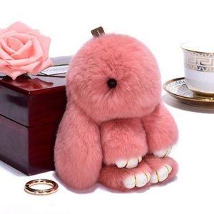 Brink Pink Fluffy Bunny Keyring